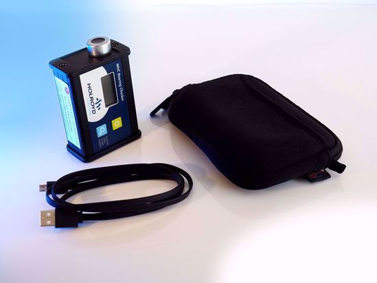Rugged hand-held device for instant analysis of bearing health of rotating machinery by measuring acoustic emissions.